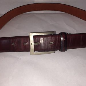 Perry Ellis silver buckle brown cowhide belt